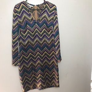 Adrianna Papell Chevron Multi color Dress